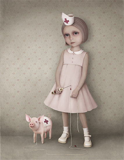 Sofia and The Little Pig Photo Manipulation
