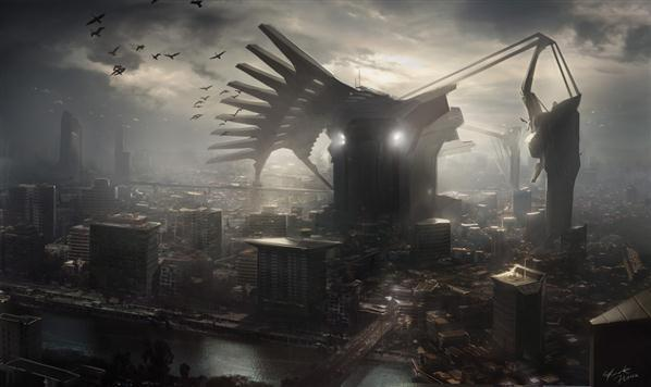 Sci Fi City Angels Matte Painting