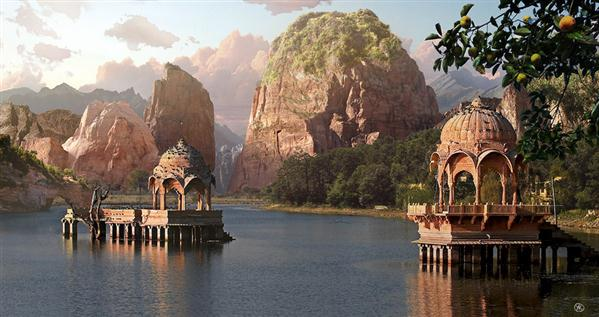 Water Temples Matte Painting by Yaroslav photoshop resource collected by psd-dude.com from deviantart