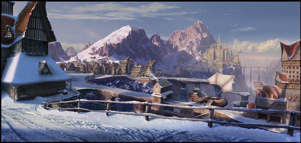 Winter Town Matte Painting