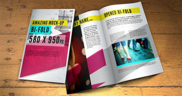 Folded Brochure Mockup PSD Template