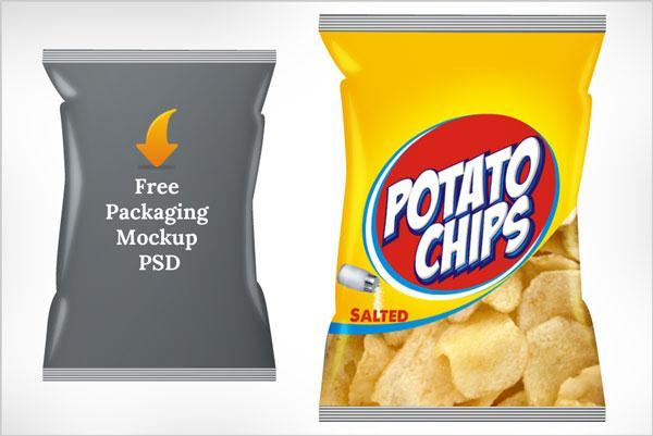 Potato chips packaging Mockup PSD Template