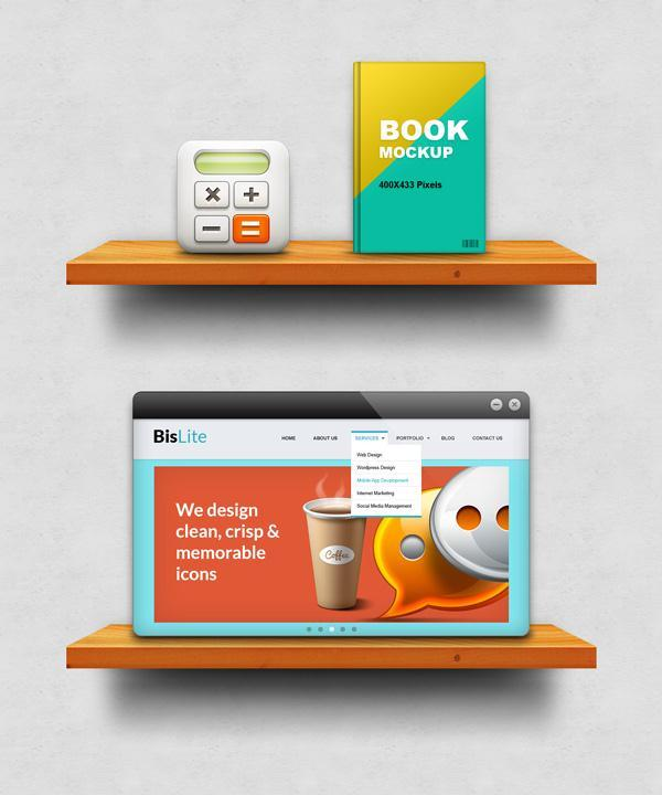Wood shelf Display Mockup PSD File