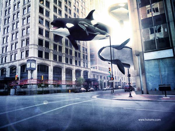 Surreal City of Whales Photoshop Manipulation