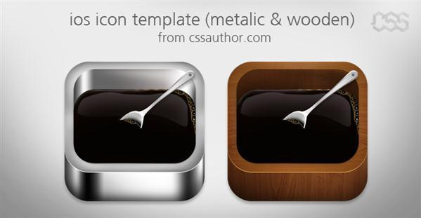 IOS Apple App Icon Template Metalic and Wood PSD - Free