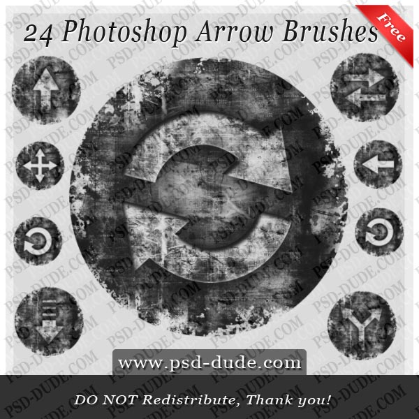 24 Arrow Photoshop Brushes by PsdDude