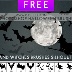 Bats and Flying Witches Photoshop Brushes for Halloween psd-dude.com Resources