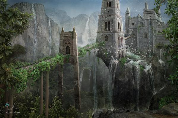 The Castle of Eighteen Waterfalls Fantasy Photoshop Manipulation