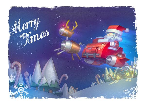 merry xmas by Vince Chui; photoshop resource collected by psd-dude.com from Behance Network