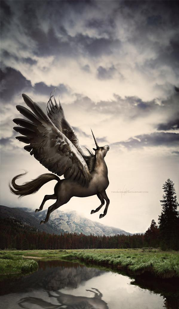Fantasy Horse Unicorn with Wings