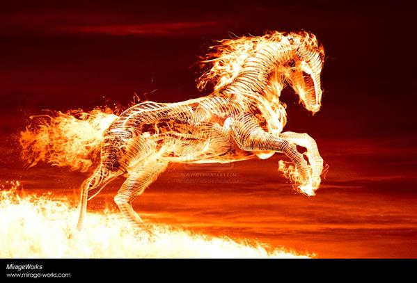 fire horse by Marcus86 photoshop resource collected by psd-dude.com from deviantart