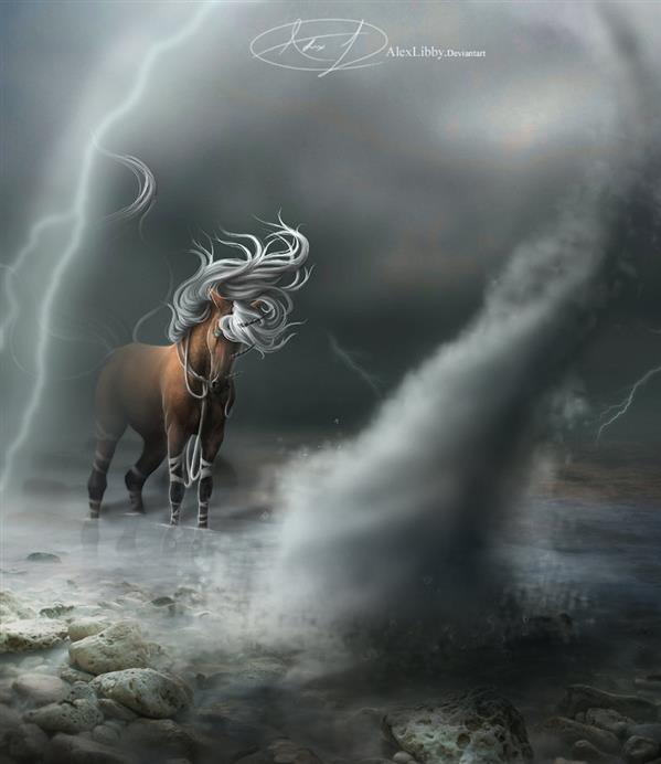 Horse Caught in Storm
