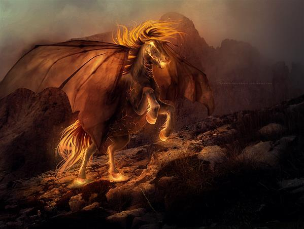 Magical Fire Horse Photo Manipulation