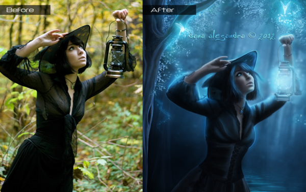 Before After The Forest of Hidden Secrets by Dana-Alesandra photoshop resource collected by psd-dude.com from deviantart