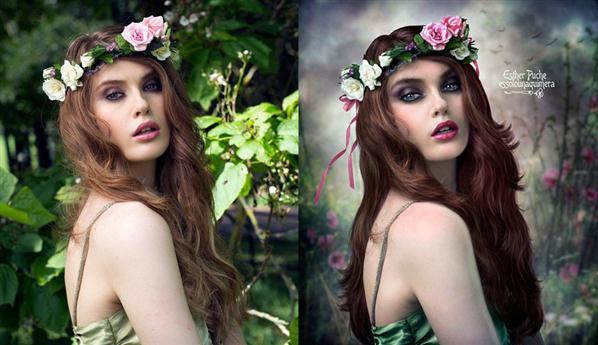 Floral Woman Before and After Portrait Manipulation