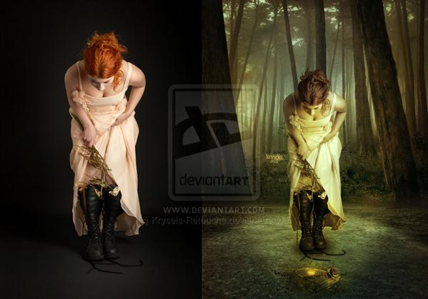 Lost Fairy Tale Before After by Kryseis-Retouche photoshop resource collected by psd-dude.com from deviantart