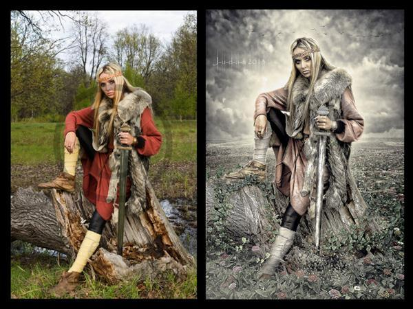 Valhalla Warrior Woman Photo Manipulation