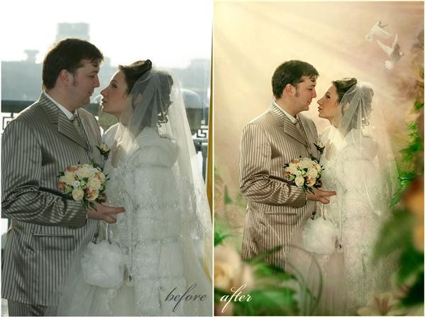 Wedding Photography before and after manipulation