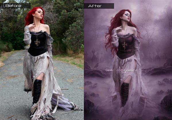 Before and After Dark Woman Manipulation