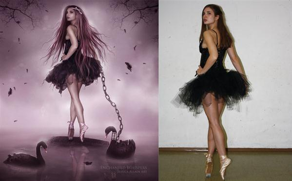 Black Swan Before and After by EnchantedWhispers photoshop resource collected by psd-dude.com from deviantart