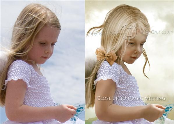 Child Retouch Painting Before After