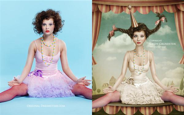 Circus Doll before and after photo manipulation