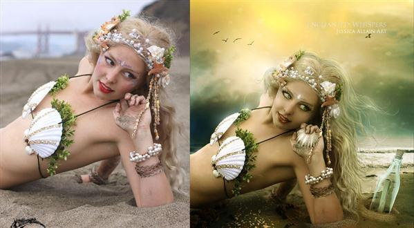 Mermaid in Photoshop Before and After