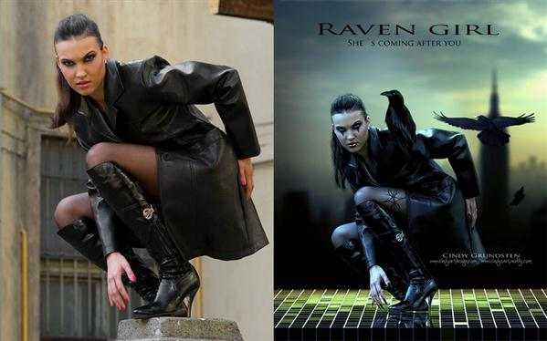 Raven Girl Before and after by Dezzan photoshop resource collected by psd-dude.com from deviantart