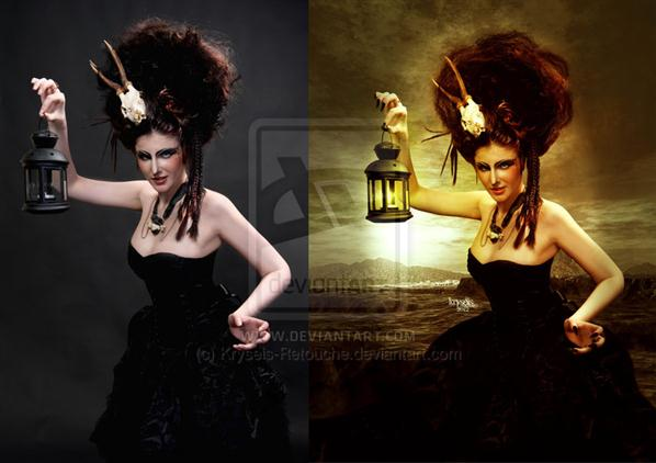 Shaman Witch Before After by Kryseis-Retouche photoshop resource collected by psd-dude.com from deviantart