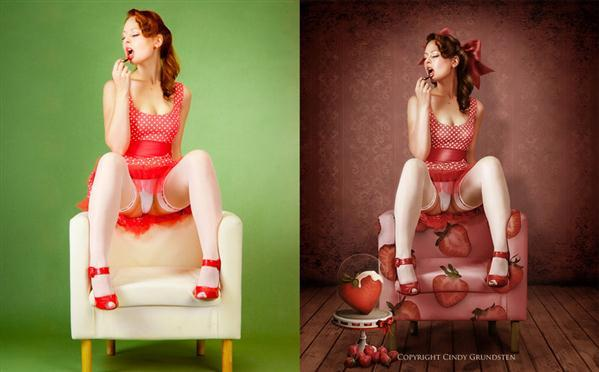 Strawberry Pinup Girl Photoshop Manipulation