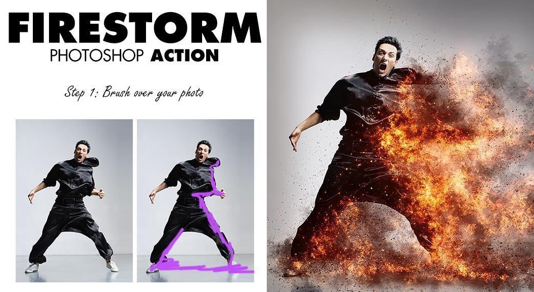 Fire Storm Photoshop Effect Action