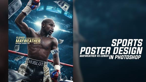 Design a Boxing Sports Poster In Photoshop Mayweather vs Conor