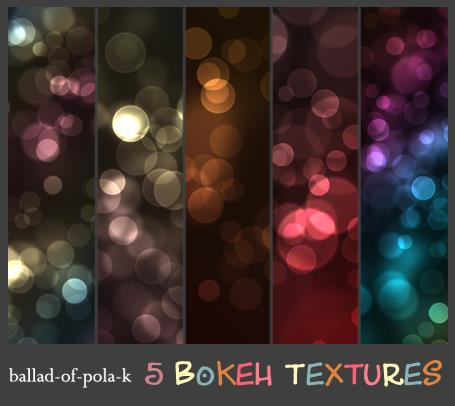 5 Bokeh Textures by ballad-of-pola-k photoshop resource collected by psd-dude.com from deviantart