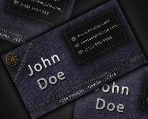 Denim Jeans style business card template tutorial