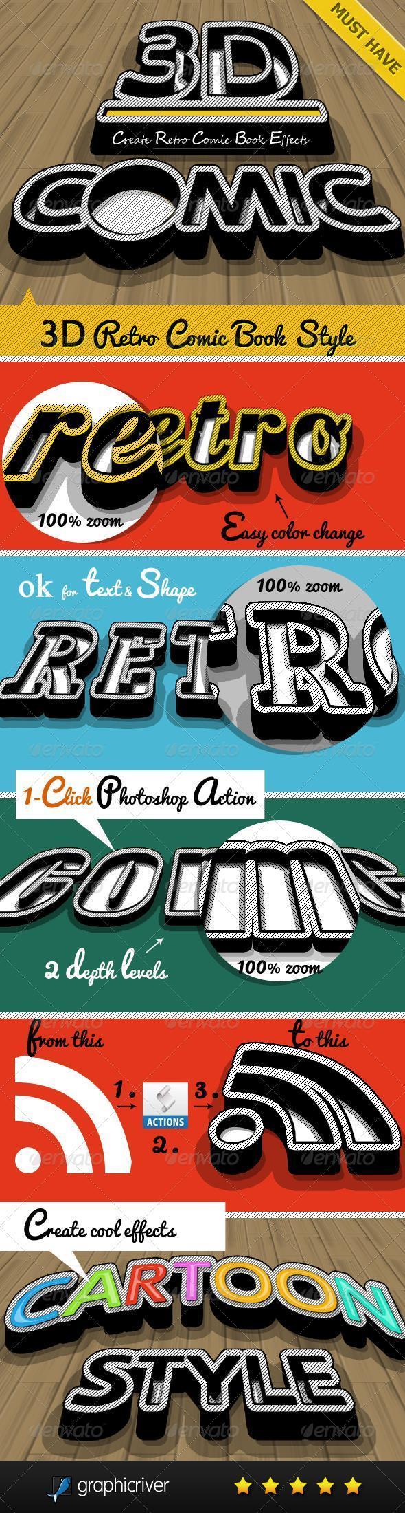 3D Retro Comics Text Style for Photoshop