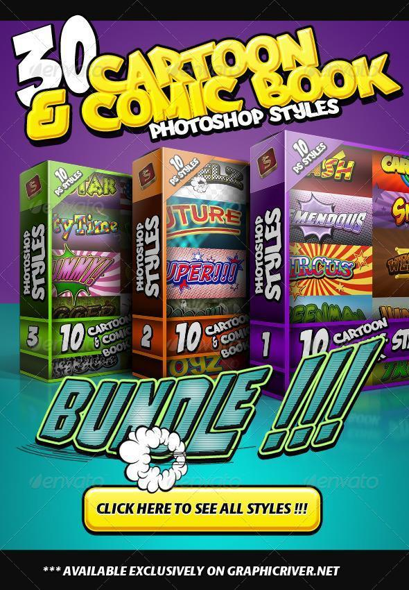 Cartoon and comic book styles Photoshop bundle