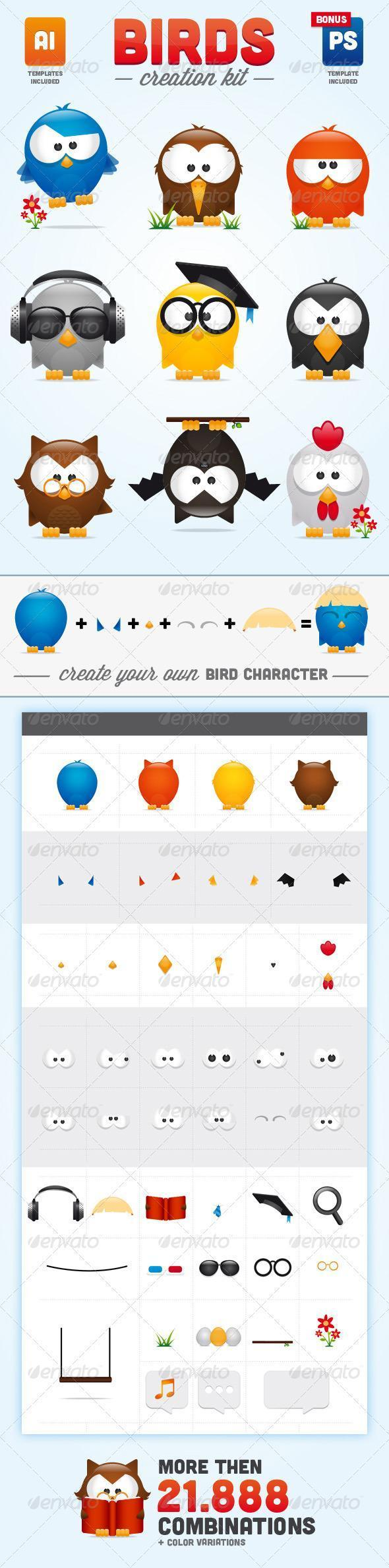 Birds Cartoon Character Creation KIt