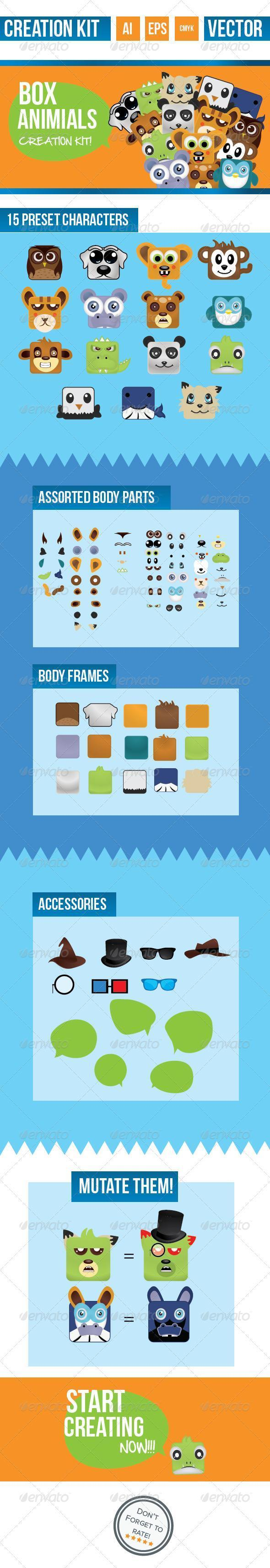 Box Cartoon Animal Character Mock-up PSD