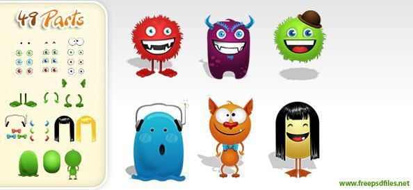 Monster Cartoon Character Creation Kit PSD - Free