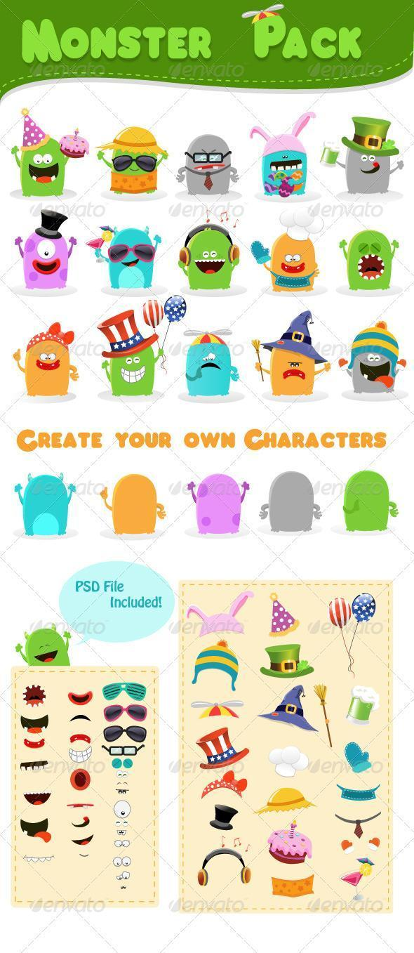 Monster Character Mascot Pack PSD