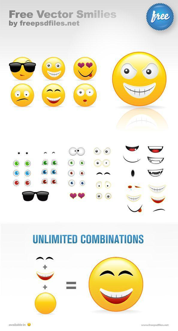 Smiley Face Emoticon Creation Kit PSD - Free