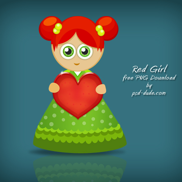 Red Cartoon Girl by psd-dude photoshop resource