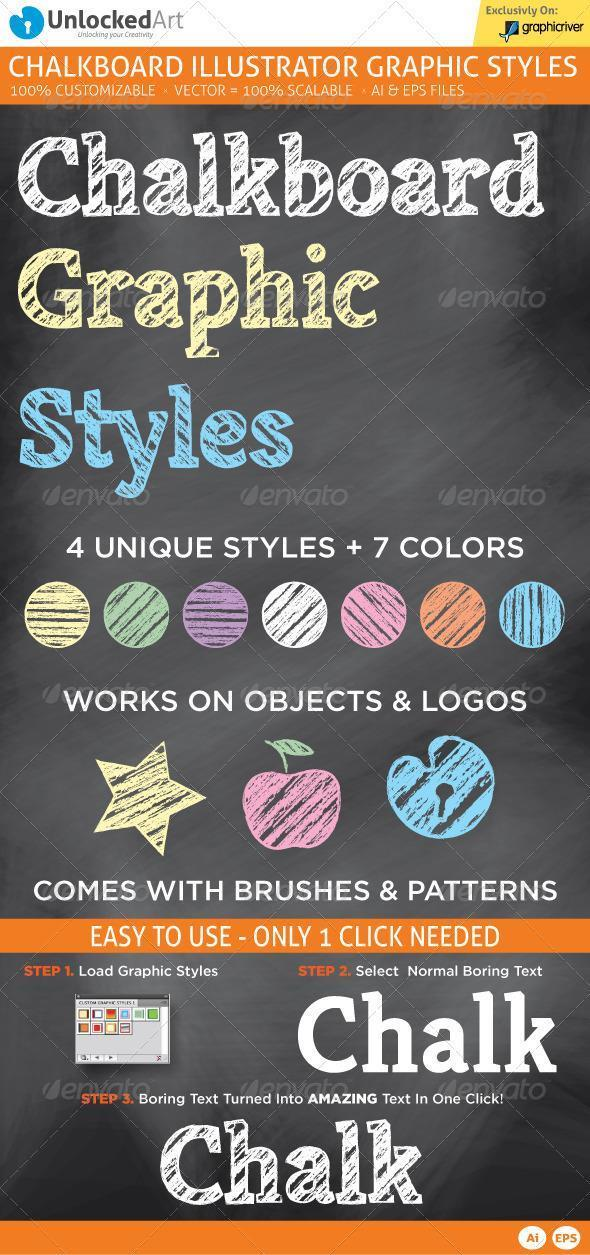 Illustrator Chalk and Chalkboard Styles