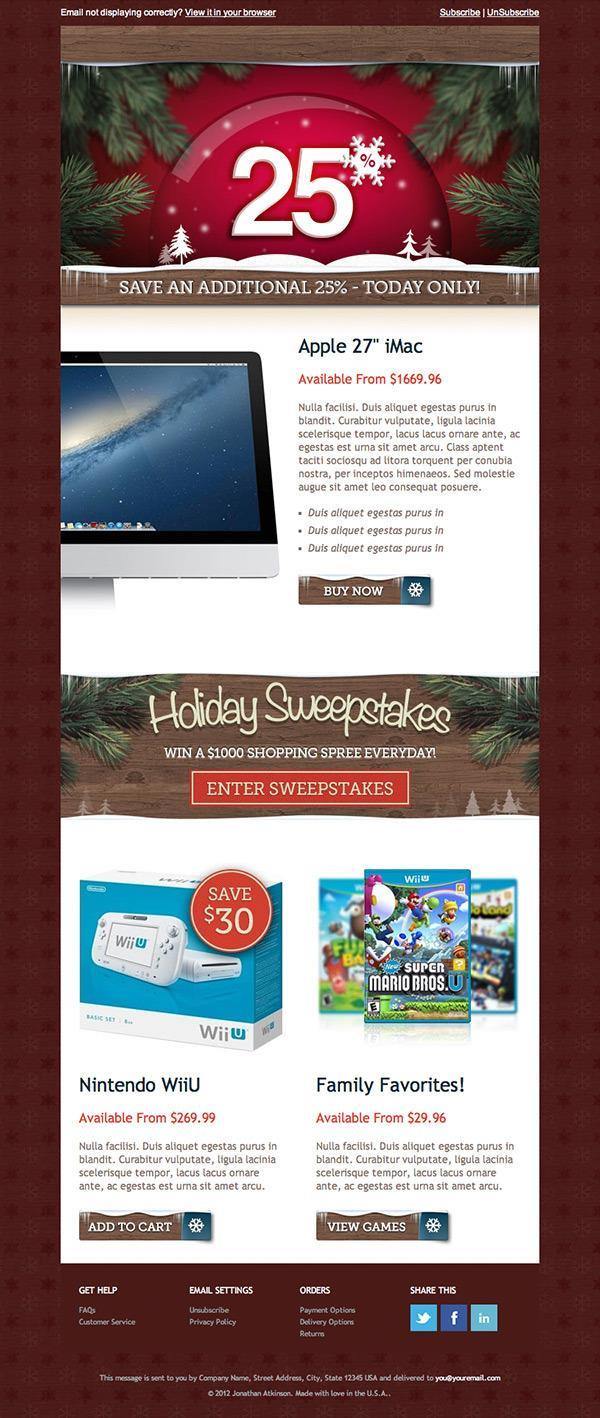 Holiday Email Template | 17$