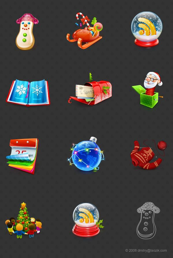 Smashing Christmas Icon Set by Dmitry Tsozik; photoshop resource collected by psd-dude.com from Behance Network