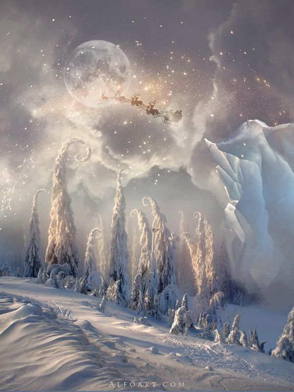 Christmas Night Magic scene with flying Santa by AlexandraF photoshop resource collected by psd-dude.com from deviantart