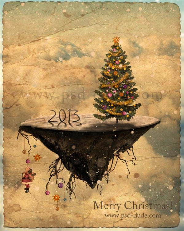 Christmas Tree Island Photoshop Manipulation