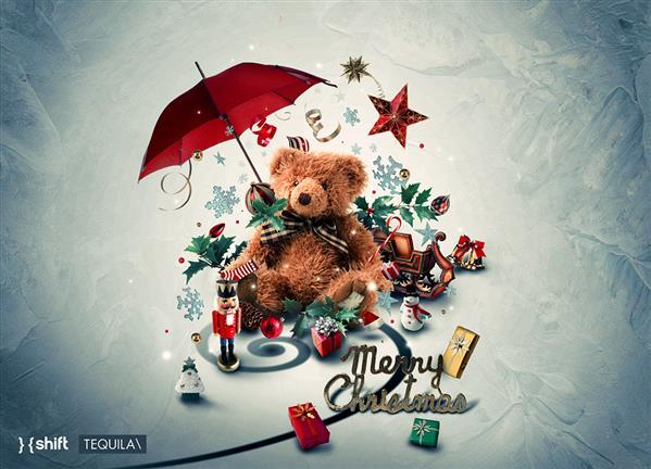 Merry Christmas Background in Photoshop