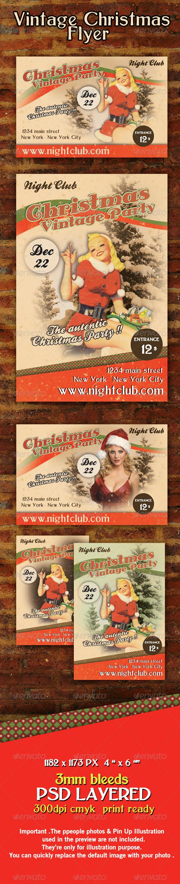 Vintage Retro Christmas Flyer Template