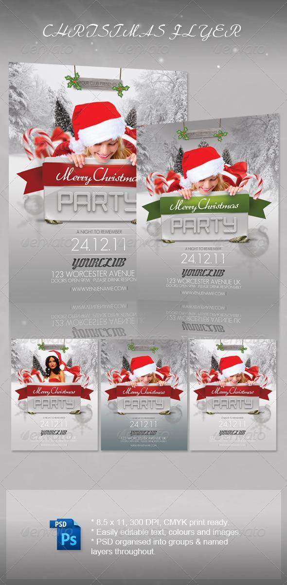 Christmas Girls Party Flyers